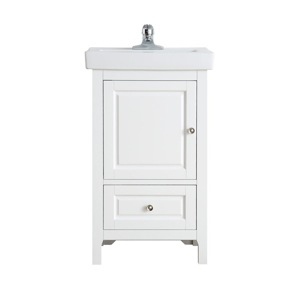 OVE Decors Balvin 20 in. White Single Sink Vanity with One piece Porcelain Top