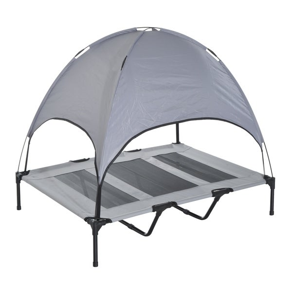 """PawHut 48"""" x 36"""" Elevated Dog Cot Cooling Pet Bed With UV Protection Canopy Shade. Opens flyout."""