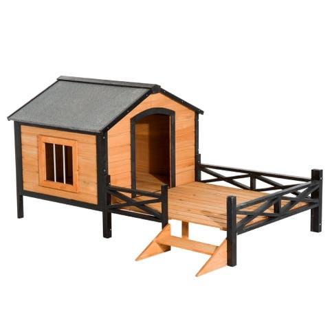 """PawHut 67"""" x 40"""" Wooden Cabin Outdoor Covered Elevated Dog House With Porch"""