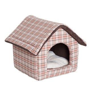 "PawHut 18"" x 16"" Portable Indoor Soft Cat Dog House Pet Cuddle Cave With Removable Cushion - Orange Plaid"