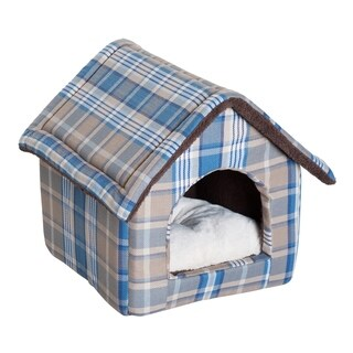 "PawHut 18"" x 16"" Portable Indoor Soft Cat Dog House Pet Cuddle Cave With Removable Cushion - Blue Plaid"
