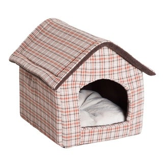 "PawHut 23"" x 19"" Portable Indoor Soft Cat Dog House Pet Cuddle Cave With Removable Cushion - Orange Plaid"