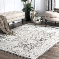 nuLOOM Ivory Traditional Mythical Lina Floral Abstract Ombre Framed Area Rug - 8' x 10'
