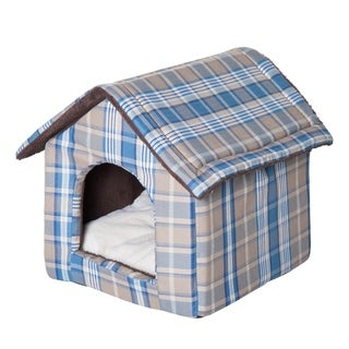 "PawHut 23"" x 19"" Portable Indoor Soft Cat Dog House Pet Cuddle Cave With Removable Cushion - Blue Plaid"