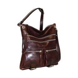 Women's Nino Bossi Violet Bouquet Leather Crossbody Bag Chocolate