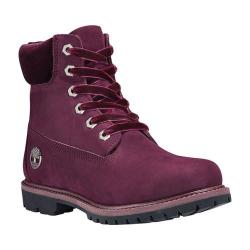 Women's Timberland 6in Premium Leather/Fabric Waterproof Boot Burgundy Nubuck (More options available)