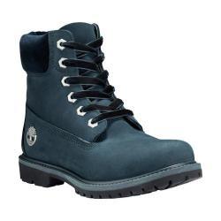 Women's Timberland 6in Premium Leather/Fabric Waterproof Boot Dark Green Nubuck
