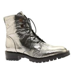 Women's Kenneth Cole New York Francesca Combat Boot Pewter Patent Leather