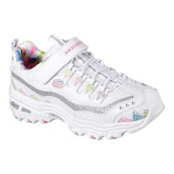 Girls' Skechers D'Lites In Stitches Sneaker White/Multi