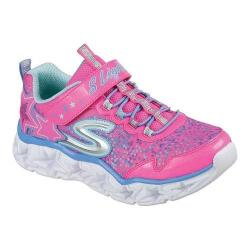 Girls' Skechers S Lights Galaxy Lights Bungee Lace Sneaker Neon Pink/Multi