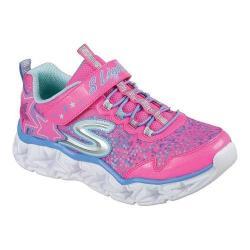 Girls' Skechers S Lights Galaxy Lights Bungee Lace Sneaker Neon Pink/Multi