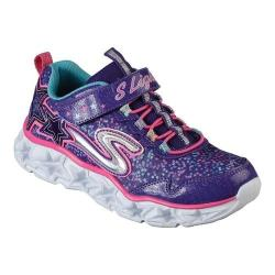 Girls' Skechers S Lights Galaxy Lights Bungee Lace Sneaker Purple/Multi