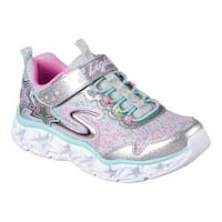 Girls' Skechers S Lights Galaxy Lights Bungee Lace Sneaker Silver/Multi