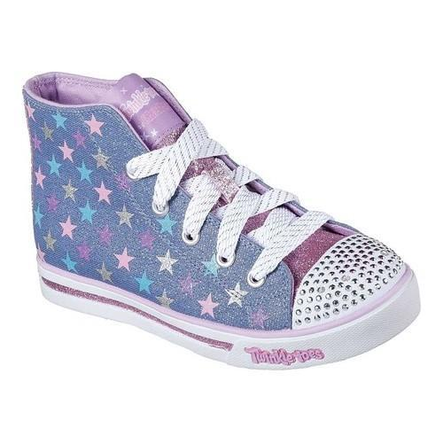 Shop Girls  Skechers Twinkle Toes Shuffles Sparkle Glitz Shiny Starz  Denim Multi - Free Shipping On Orders Over  45 - Overstock.com - 19220247 2081a4864aa7