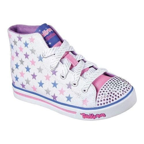 Shop Girls  Skechers Twinkle Toes Shuffles Sparkle Glitz Shiny Starz  White Multi - Free Shipping On Orders Over  45 - Overstock.com - 19220248 c1be344488ce