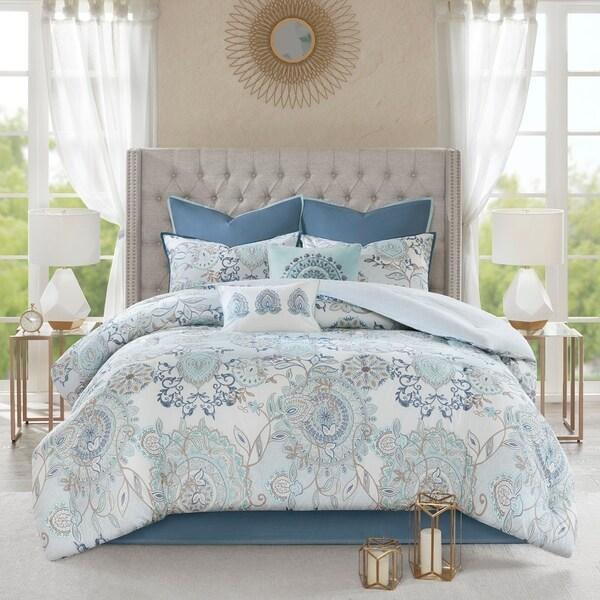 Madison Park Loleta Blue 8 Piece Queen Size Cotton Reversible Comforter Set (As Is Item)