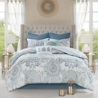 Madison Park Loleta Blue 8 Piece Queen Size Cotton Reversible Comforter Set (As Is Item)