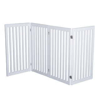 "PawHut 36"" x 80"" Wooden Freestanding 4 Panel Safety Expandable Pet Gate - White"