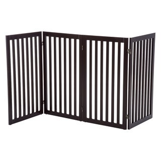 "PawHut 36"" x 80"" Wooden Freestanding 4 Panel Safety Expandable Pet Gate - Rich Espresso"