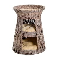 """PawHut 24"""" 3 Tier Round Rattan Wicker Elevated Cat Bed Condo With Cushions"""
