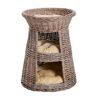 "PawHut 24"" 3 Tier Round Rattan Wicker Elevated Cat Bed Condo With Cushions"