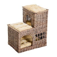 "PawHut 24"" L-Shaped 3 Tier Rattan Wicker Elevated Cat Bed Condo With Cushions"