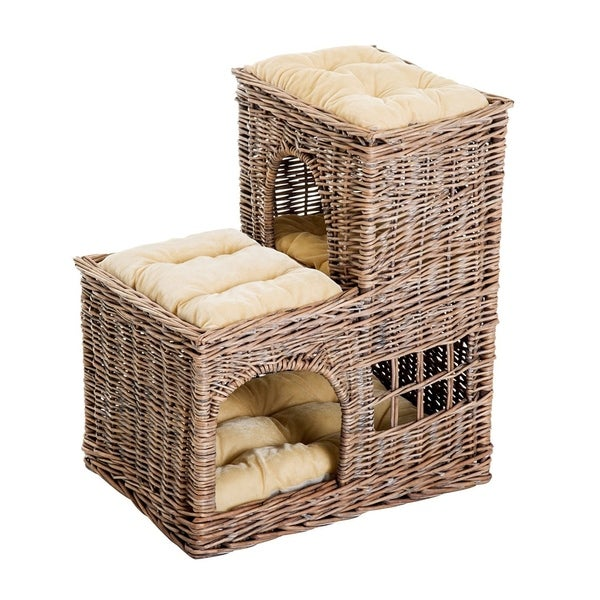 shop pawhut 24 l shaped 3 tier rattan wicker elevated cat bed condo with cushions on sale. Black Bedroom Furniture Sets. Home Design Ideas
