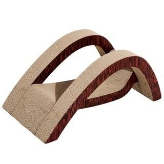 """PawHut 28"""" Corrugated Cardboard Cat Scratcher Lounger - Bridge Design"""