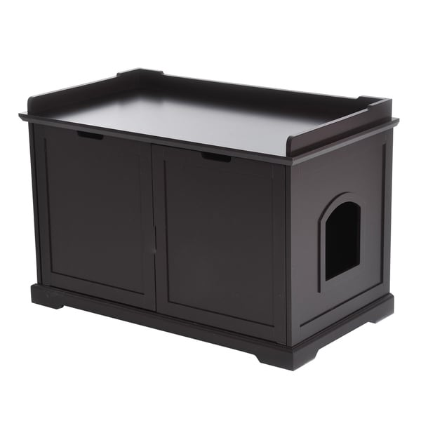 PawHut Wooden Covered Cat Litter Box End Table Hideaway With Storage Cabinet    Espresso Brown