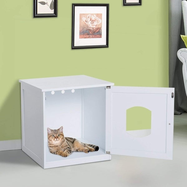 Pawhut Wooden Covered Cat Litter Box End Table Hideaway Cabinet White