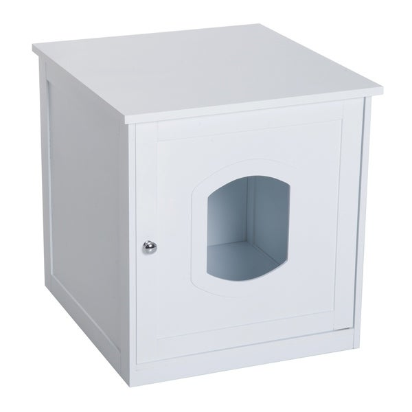 PawHut Wooden Covered Cat Litter Box End Table Hideaway Cabinet - White