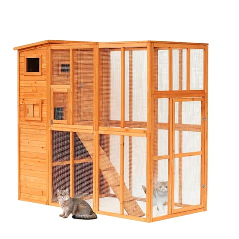 Pawhut Large Wooden Outdoor Cat Enclosure Cage