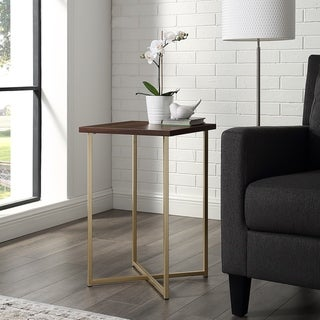 Silver Orchid Madsen 16-inch Modern Square Side Table - 16 x 16 x 24h (Gold / Dark Walnut)