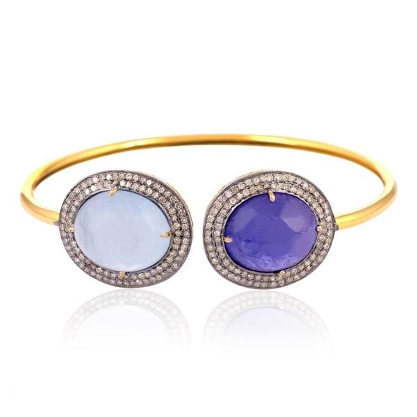 Artisan Gold & Silver 0.84Cts diamond, aquamarine & Tanzanite Cuff