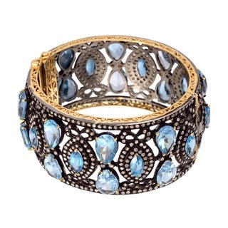 Artisan Gold and Silver 12.2Cts diamond and Blue Topaz bangle