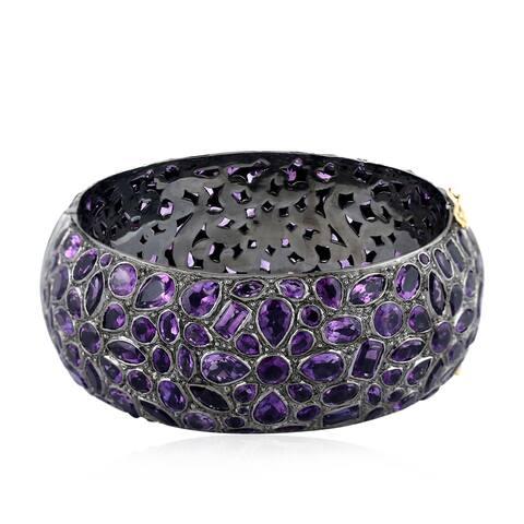 18Kt Gold 925 Silver Designer Amethyst Bangle Gemstone Jewelry