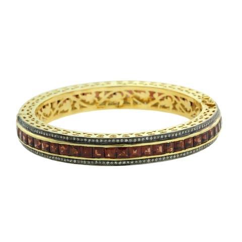14Kt Gold 925 Silver Diamond Designer Garnet Bangle Gemstone Jewelry
