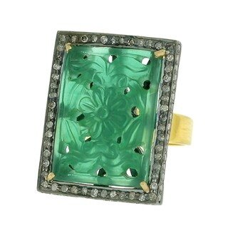 Artisan Gold 2.44 Cts Diamond and carved onyx cocktail ring