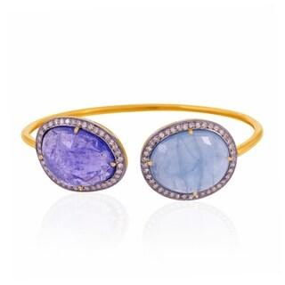 Artisan Gold and Silver 1.04Cts diamond, aquamarine & Tanzanite Cuff