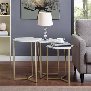 Modern Hex Wood and Metal Nesting Tables, set of 3 - 14 x 16 x 22h/14 x 16 x 24h/14 x 16 x 23h