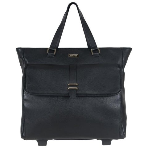 Kenneth Cole Reaction Pebbled Faux Leather Top Zip 2-Wheel 15in Laptop Business Tote / Wheeled Carry On Tote