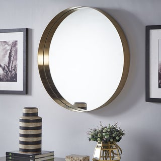 Avery Gold Finish Frame Ledge Round Wall Mirror by iNSPIRE Q Bold