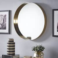 Avery Gold Finish Frame Ledge Round Wall Mirror by iNSPIRE Q Bold - N/A