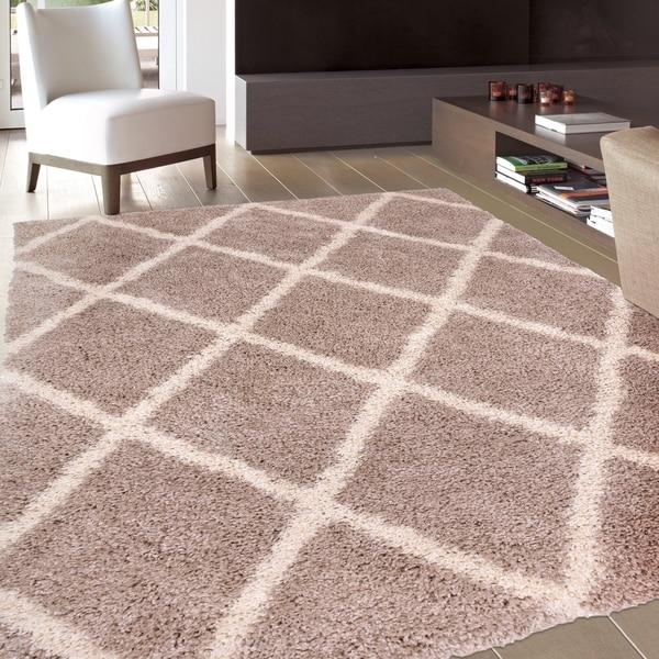 shop contemporary diamond trellis soft plush shag area rug beige 3 39 3 x 5 39 on sale free. Black Bedroom Furniture Sets. Home Design Ideas