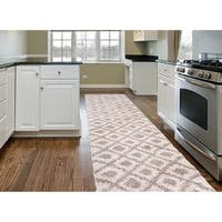Contemporary Trellis Diamond Soft Plush Shag Runner Rug Beige - 2' x 7'