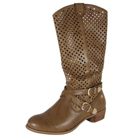 MTNG Mustang Womens 58406 Diamond Cutout Boot Shoes, Brown