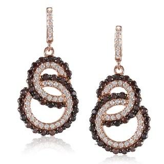 Suzy Levian Rosed Sterling Silver Brown Cubic Zirconia Interlocked Double Loop Earrings