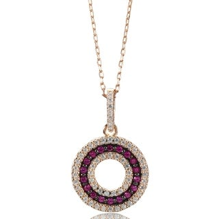 Suzy L Rosed Sterling Silver Created Ruby 3 Row Circle Pendant