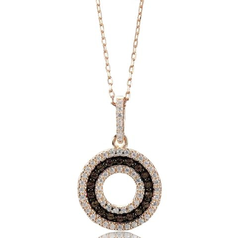 Suzy Levian Rosed Sterling Silver Brown Cubic Zirconia 3-Row Circle Pendant