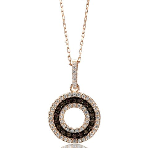 Suzy L. Rosed Sterling Silver Brown Cubic Zirconia 3-Row Circle Pendant
